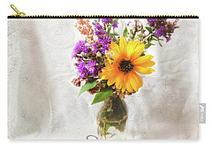 Carry-all Pouch featuring the photograph Wild Sunflower And Wildflowers Still Life by Anna Louise