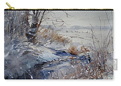 Carry-all Pouch featuring the painting Wild Turkey In The Storm by Sandra Strohschein