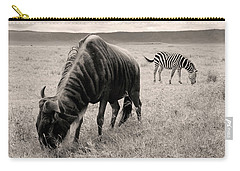 Wildebeest And Zebra Carry-all Pouch