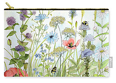 Carry-all Pouch featuring the painting Wildflower And Bees by Laurie Rohner