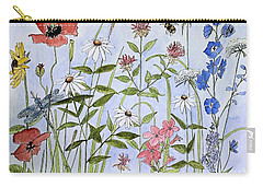 Carry-all Pouch featuring the painting Wildflower And Blue Sky by Laurie Rohner