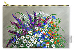 Carry-all Pouch featuring the painting  Wildflower Basket Acrylic Painting A61318 by Mas Art Studio