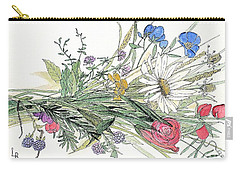 Carry-all Pouch featuring the painting Wildflower Bouquet by Laurie Rohner