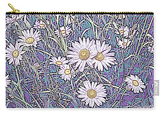 Wildflower Daisies In Field Of Purple And Teal Carry-all Pouch