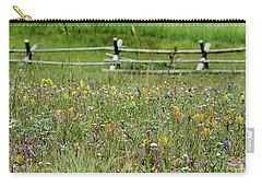 Carry-all Pouch featuring the photograph Wildflower Fence by Gaelyn Olmsted