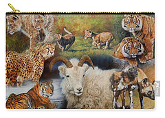 Wildlife Collage Carry-all Pouch by David Stribbling