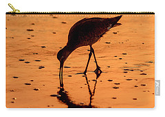 Carry-all Pouch featuring the photograph Willet On Sunrise Surf by Steven Sparks