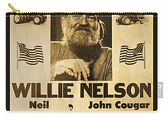 Willie Nelson Neil Young 1985 Farm Aid Poster Carry-all Pouch by John Stephens
