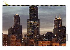 Willis Tower At Dusk Aka Sears Tower Carry-all Pouch by Adam Romanowicz