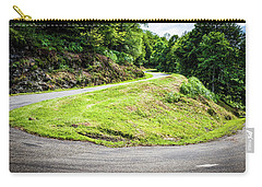 Carry-all Pouch featuring the photograph Winding Road With Sharp Bend Going Up The Mountain by Semmick Photo