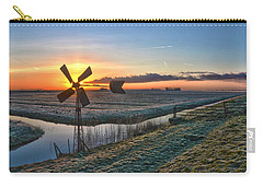 Carry-all Pouch featuring the photograph Windmill At Sunrise by Frans Blok