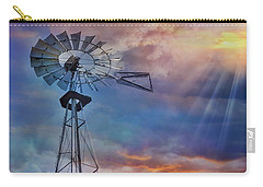 Carry-all Pouch featuring the photograph Windmill At Sunset by Susan Candelario