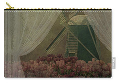 Carry-all Pouch featuring the photograph Windmill Through Laced Curtain by Jeff Burgess