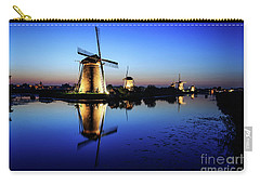 Windmills At Dusk In The Blue Hour Carry-all Pouch