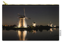 Windmills Illuminated At Night Carry-all Pouch by IPics Photography