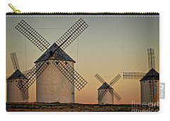 Carry-all Pouch featuring the photograph Windmills In Golden Light by Heiko Koehrer-Wagner