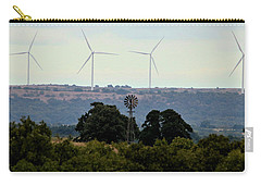 Carry-all Pouch featuring the photograph Windmills Old And New by Sheila Brown