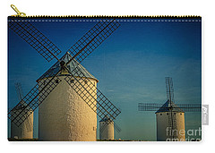 Carry-all Pouch featuring the photograph Windmills Under Blue Sky by Heiko Koehrer-Wagner