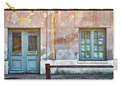 Carry-all Pouch featuring the photograph Window And Door Of Old Train Station by Eduardo Jose Accorinti