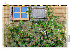 Carry-all Pouch featuring the photograph Window Floral In Plymouth by Joan  Minchak