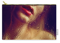 Window -  Sensual Woman Portrait Behind A Rainy Window Carry-all Pouch