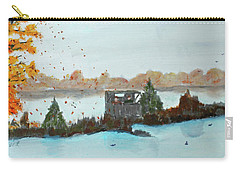 Carry-all Pouch featuring the painting Windy Point Duck Blind by Jack G Brauer