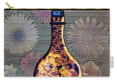 Carry-all Pouch featuring the digital art Wine Bottle And Floral Wall by Iowan Stone-Flowers