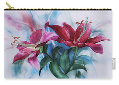 Wine Lillies In Pastel Watercolour Carry-all Pouch