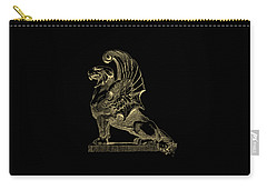 Carry-all Pouch featuring the digital art Winged Chimera From Theater De Bellecour, Lyon, France, In Gold On Black by Serge Averbukh