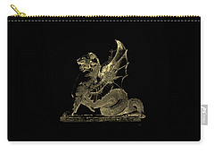 Carry-all Pouch featuring the digital art Winged Dragon Chimera From Fontaine Saint-michel, Paris In Gold On Black by Serge Averbukh