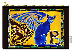 Winged Feline - Cat Art With Letter P By Dora Hathazi Mendes Carry-all Pouch by Dora Hathazi Mendes