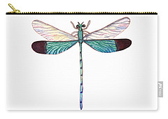 Carry-all Pouch featuring the painting Winged Jewels 1, Watercolor Tropical Dragonfly Aqua Blue Black by Audrey Jeanne Roberts