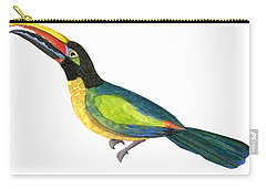 Carry-all Pouch featuring the painting Winged Jewels 2, Watercolor Toucan Rainforest Birds by Audrey Jeanne Roberts