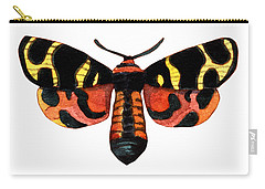 Carry-all Pouch featuring the painting Winged Jewels 5, Watercolor Moth Black Yellow Orange And Red Tropical by Audrey Jeanne Roberts