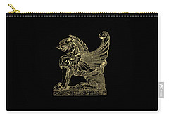 Carry-all Pouch featuring the digital art Winged Lion Chimera From Casa San Isidora, Santiago, Chile, In Gold On Black by Serge Averbukh