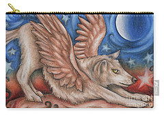 Winged Wolf In Downward Dog Yoga Pose Carry-all Pouch
