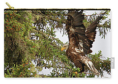 Carry-all Pouch featuring the photograph Winging-it Up The Tree 1 by Debbie Stahre