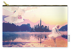 Carry-all Pouch featuring the mixed media Wings Of Grace by Jessica Eli