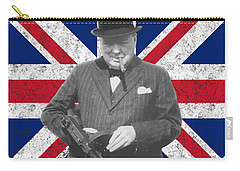 Winston Churchill And His Flag Carry-all Pouch