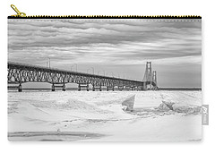 Carry-all Pouch featuring the photograph Winter At Mackinac Bridge by John McGraw
