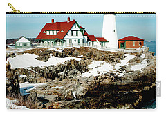 Winter At Portland Head Carry-all Pouch by Greg Fortier
