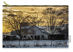 Carry-all Pouch featuring the photograph Winter Barn At Sunset - Provo - Utah by Gary Whitton