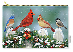 Winter Birds And Christmas Garland Carry-all Pouch by Crista Forest