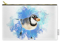 Carry-all Pouch featuring the photograph Winter Bluejay by Darren Fisher
