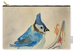 Winter Bluejay Carry-all Pouch by Maria Urso