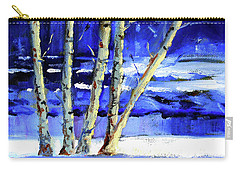 Carry-all Pouch featuring the painting Winter By The River by Nancy Merkle