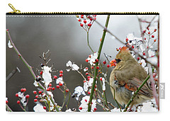 Carry-all Pouch featuring the photograph Winter Cardinal by Gary Wightman