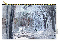 Carry-all Pouch featuring the painting Winter Caws by Robin Maria Pedrero