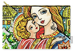 Carry-all Pouch featuring the painting Winter Church by Eva Campbell