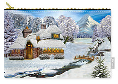 Winter Country Cottage Carry-all Pouch